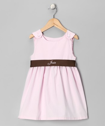 Pink & Brown Personalized Sash Jumper - Infant, Toddler & Girls