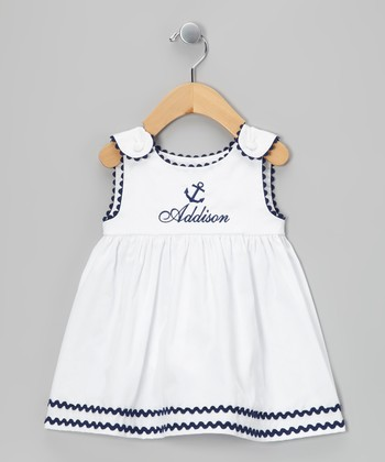 White & Navy Anchor Personalized Dress - Infant, Toddler & Girls