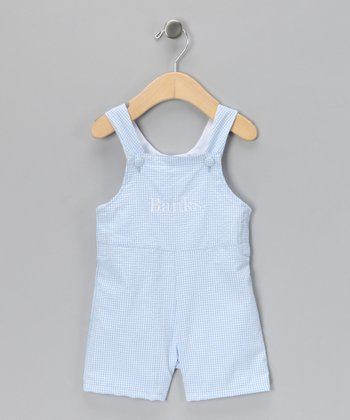 Blue Gingham Personalized Shortalls - Infant & Toddler