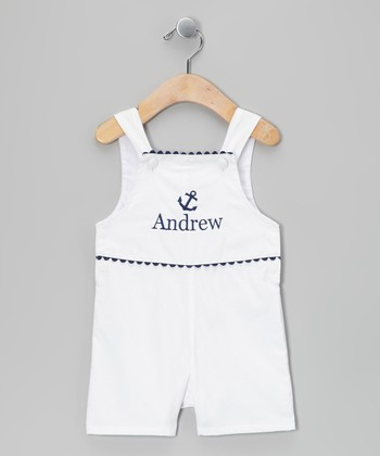 White & Navy Anchor Personalized Shortalls - Infant & Toddler