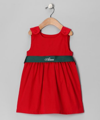Red Corduroy Personalized Sash Jumper - Infant, Toddler & Girls