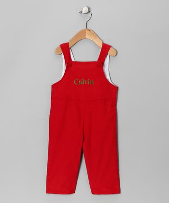 Red & Green Corduroy Personalized Overalls - Infant & Toddler