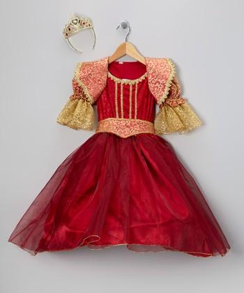 Burgundy & Gold Renaissance Dress-Up Set - Girls