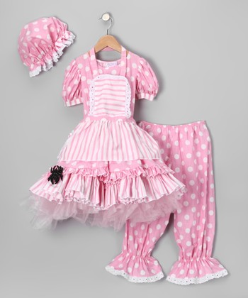 Pink & White Little Miss Muffet Dress-Up Outfit - Kids