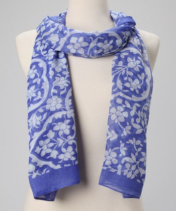 Blue & White Everything is Vine Scarf