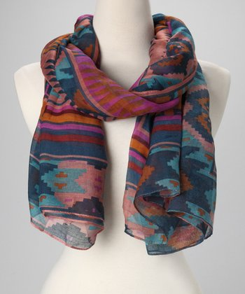 Blue & Red Aztec Scarf