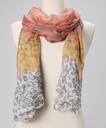 Peach & Orange Leopard Scarf