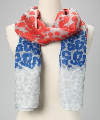 Blue & Red Leopard Scarf
