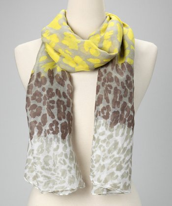 Yellow & Brown Leopard Scarf