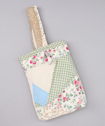 Cream & Aqua Quilted Purse