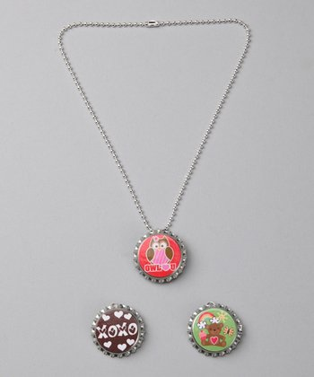 Prissy Pop Tops 'Owl Love You' Bottle Cap Necklace Set