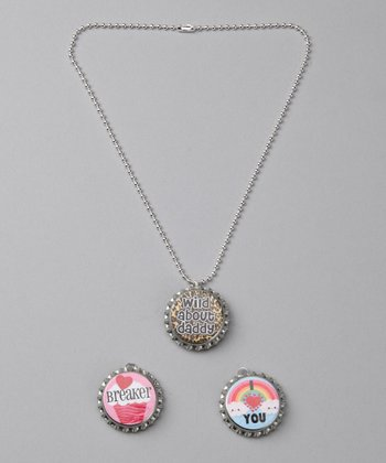 Prissy Pop Tops 'Wild About Daddy' Bottle Cap Necklace Set