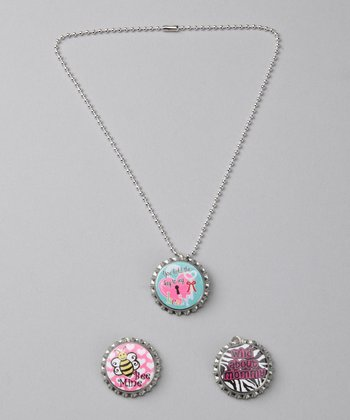 Prissy Pop Tops 'Wild About Mommy' Bottle Cap Necklace Set