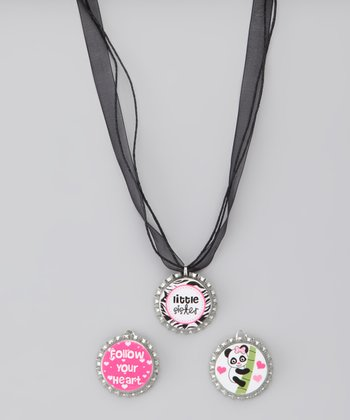 Black 'Little Sister' Bottle Cap Necklace Set