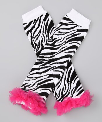 Prissy in Pink Hot Pink & Black Zebra Ruffle Leg Warmers