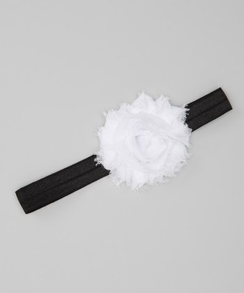 White & Black Shabby Rose Glimmer Headband