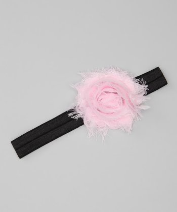 Light Pink & Black Shabby Rose Glimmer Headband