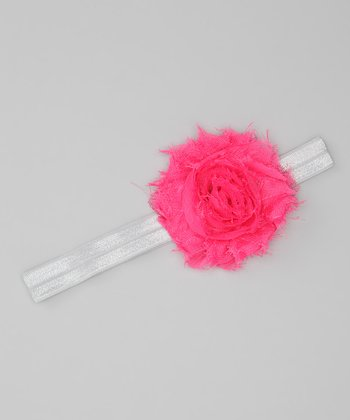 Hot Pink & Silver Shabby Rose Glimmer Headband