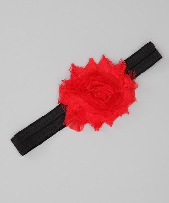 Red & Black Shabby Rose Glimmer Headband