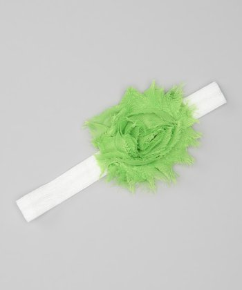 Lime & White Shabby Rose Glimmer Headband