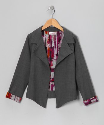 Gray Temperly Wool-Blend Blazer - Toddler & Girls