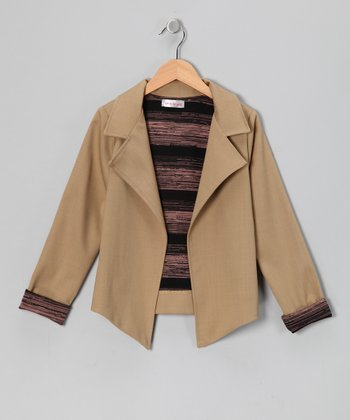 Tan Temperly Wool-Blend Blazer - Toddler & Girls