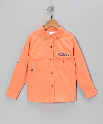 Tangerine Sun Protection Button-Up - Infant & Toddler