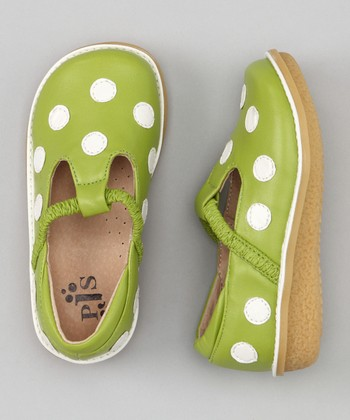 Spring Green & White Polka Dot T-Strap Shoe