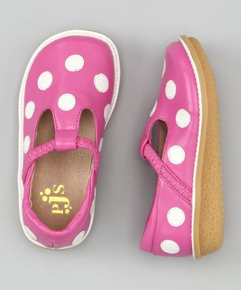Hot Pink & White Polka Dot T-Strap Shoe