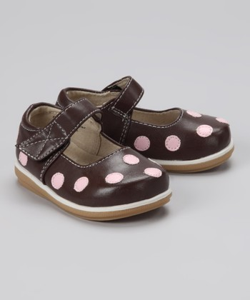 Chocolate & Light Pink Polka Dot Mary Jane