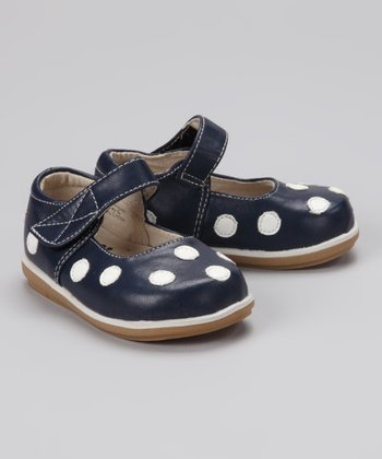 Navy & White Polka Dot Mary Jane