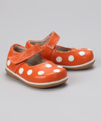 Orange & White Polka Dot Mary Jane