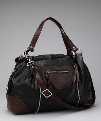 Black Zipper Pocket Satchel