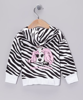 Black & White Zebra 'Spoiled and Fabulous' Zip-Up Hoodie - Infant