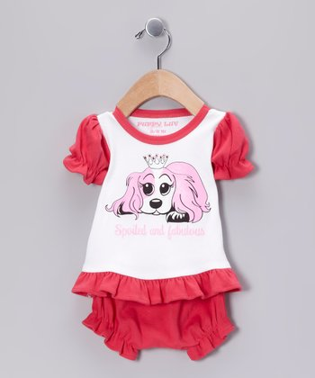 White & Raspberry 'Spoiled and Fabulous' Tee & Bloomers - Infant