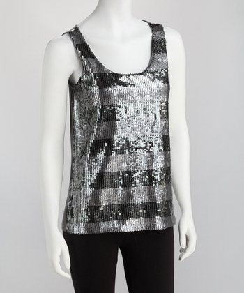 Gray Sequin Stripe Tank