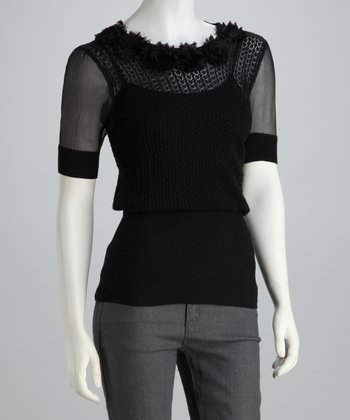 Onyx Sheer Rosette Sweater