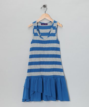Blue & Gray Stripe Drop-Waist Dress