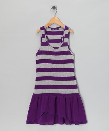 Purple Stripe Drop-Waist Dress
