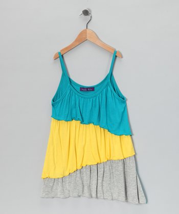 Turquoise, Yellow & Gray Ruffle Top