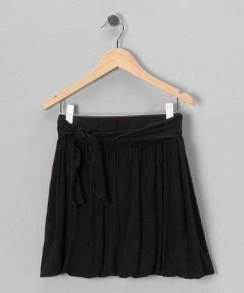 Purple Pixies Black Gathered Tie Skirt