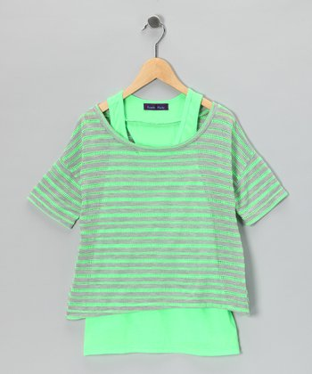 Neon Green Stripe Layered Top