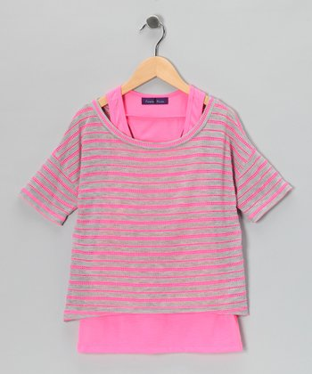 Neon Pink Stripe Layered Top