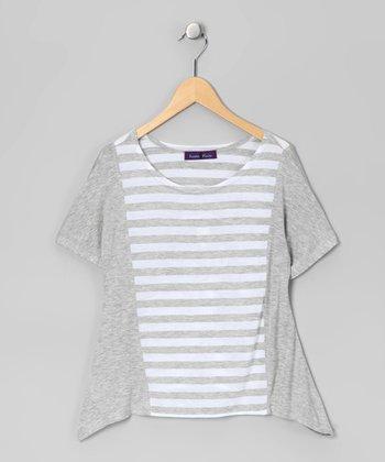 Purple Pixies Gray & White Stripe Sidetail Top