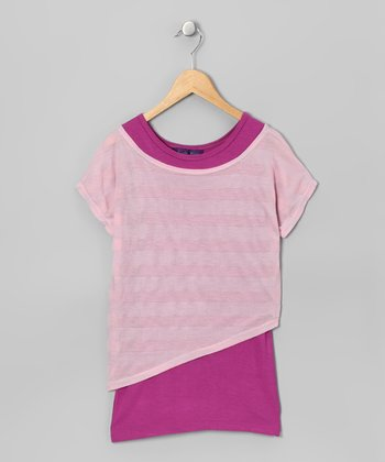 Pink & Magenta Stripe Layered Top