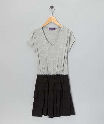 Gray & Black Ruffle Dress
