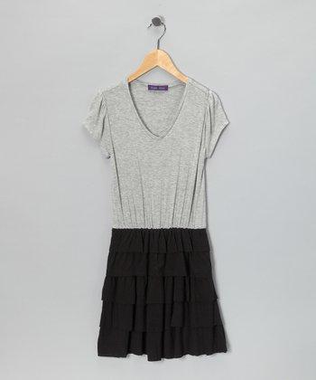 Purple Pixies Gray & Black Ruffle Dress