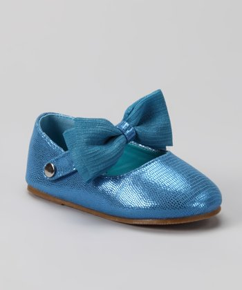 Blue Bow Happy Flat