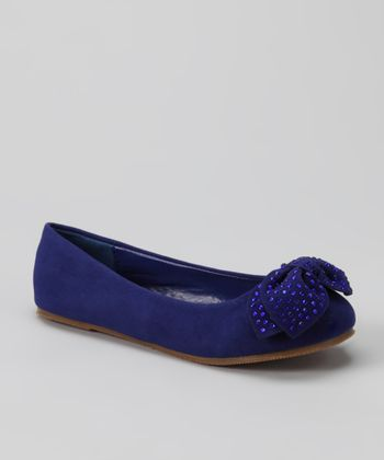 Royal Blue Bow Happy Flat