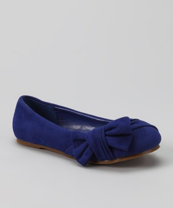 Blue Suede Happy Flat